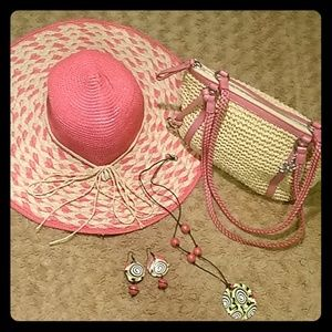 Pink Bundle - Brighton Purse, hat, & jewelry B009B